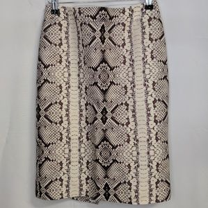 J Crew Snakeskin No. 2 Pencil Skirt Wool Blend 0